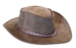 Australian leather (cow hide) hat over white Royalty Free Stock Photo