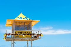 Australian lifeguard tower at Surfers Paradise, QLD, Australia. Surfers Paradise, Queensland, Australia-December 23, 2017: Lifeguard tower. Australian lifeguards Royalty Free Stock Photography