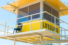 Australian lifeguard tower at Surfers Paradise, QLD, Australia. Surfers Paradise, Queensland, Australia-December 23, 2017: Lifeguard tower. Australian lifeguards Stock Photos