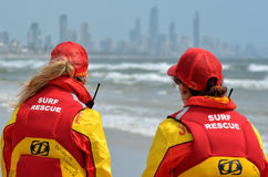 Australian Lifeguards in Gold Coast Queensland Australia. GOLD COAST, AUS - NOV 02 2014:Australian woman Lifeguards in Gold Coast Australia.They are world-renown Royalty Free Stock Photography