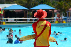 Australian Lifeguards in Gold Coast Queensland Australia. GOLD COAST, AUS - OCT 30 2014:Australian Lifeguard in Wet'n'Wild Gold Coast Australia.They are world Royalty Free Stock Photography