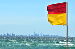 Australian Lifeguards in Gold Coast Queensland Australia. COOLANGATTA - OCT 07 2014:Australian Lifeguards flag.According to Australia National Drowning report Stock Photography