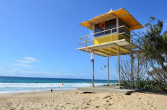 Australian Lifeguards in Gold Coast Queensland Australia. GOLD COAST - SEP 28 2014: Australian Lifeguards tower in Gold Coast Australia.Australian Lifeguards are Stock Image
