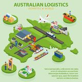 Australian Logistics - Flat 3d isometric vector illustration.. Global shipping and logistics infographic. Distribution of goods all over the world Royalty Free Stock Photos