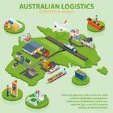 Australian Logistics - Flat 3d isometric vector illustration.  Royalty Free Stock Photos