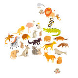 Australian mammal map silhouettes.  on white background vector illustration. Colorful cartoon illustration for children, k Royalty Free Stock Photography