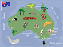 Australian map with animals and landmarks. Australian map with wild animals and landmarks Stock Photo