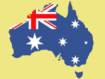 Australian map and flag illustration Stock Photography