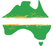 Australian Map Grunge Banner. Map of Australia with a grunge style banner for text. In australian colours of green and gold Stock Photography