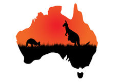Australian map with kangaaroo Stock Image