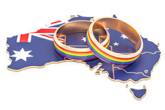 Australian map with LGBT rainbow rings, 3D rendering. Australian map with LGBT rainbow rings, 3D Royalty Free Stock Photography