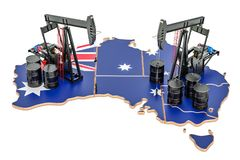 Australian map with oil barrels and pumpjacks. Oil production co. Ncept. 3D royalty free illustration