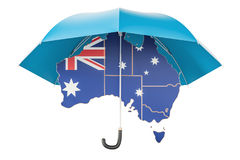Australian map under umbrella. Security and protect or insurance Stock Image