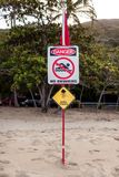 Australian marine stinger warning sign Stock Images