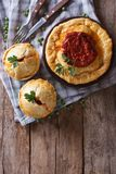 Australian meat pie on a  table. vertical top view Stock Images