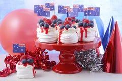 Australian Mini Pavlovas and flags Stock Photos