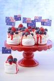 Australian Mini Pavlovas and flags Royalty Free Stock Photography