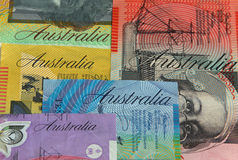 Australian money. Close up of various Australian dollar notes. Focus on Australia on blue $10 note
