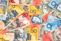 Australian Money. Full-frame of Australian fifty, twenty and ten dollar notes stock photo