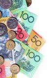 Australian Money. Australian notes and coins, on white background