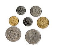 Australian money. Australian coins, a set of isolated clippable coins royalty free stock photo
