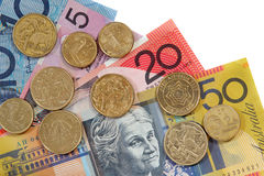 Australian Money. Australian coins and notes, on white background Royalty Free Stock Photography