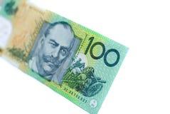 Australian Money. A single 100-dollar Australian bank note on a white background Stock Photo