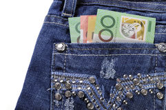 Australian money in back pock of ladies jeans with copy space. Stock Photo