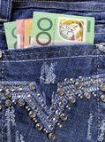 Australian money in back pocket of ladies jeans Stock Photography
