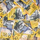 Australian Money Background. Fifty dollar notes, top view stock image