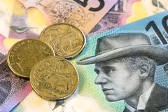 Australian Money Background. Coins and notes Stock Image