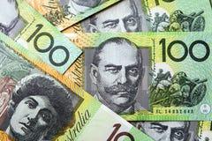 Australian Money Background. One hundred dollar bills, full-frame royalty free stock images