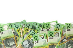 Australian Money Border over White Royalty Free Stock Images