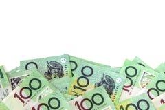 Australian Money Border over White. Background. One hundred dollar notes stock photos