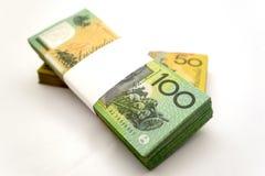 Australian Money. A bundle of an Australian one hundred dollar bill and fifty dollar bill with the hundred dollar bill bundle on top Stock Photo