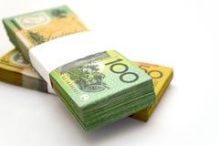 Australian Money. A bundle of an Australian one hundred dollar bill and fifty dollar bill with the hundred dollar bill bundle on top Stock Photos