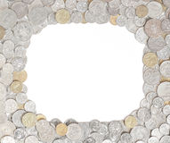 Australian money coin frame. Australian coins arranged as a frame around white copy space.  All coins are front side up Royalty Free Stock Photo