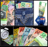 Australian Money Collage. Australian money theme collage of five images with hundred, fifty, twenty, ten and five dollar notes, money in back pocket of ladies Stock Image