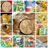 Australian Money Collection. Collage of notes and coins Stock Photography