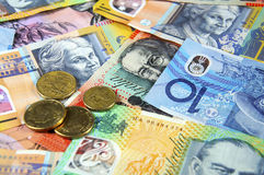 Australian Money. Concept for savings, spending, or 30th June End of Financial Year sale Stock Photos