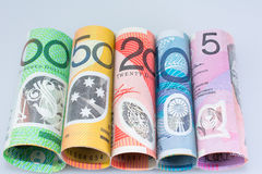 Australian Money  Denominations Rolled. Australian Money Currency All Denominations Rolled Royalty Free Stock Photography
