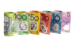Australian Money. Each denomination of Australian bank note rolled and standing side by side Royalty Free Stock Images
