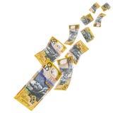 Australian Money Falling. Falling Australian fifty dollar notes, isolated on white background Stock Image