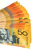 Australian money fan. Fan made of Australian 50 dollar bills stock photo