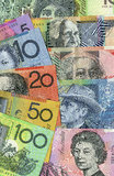 Australian money fan and detail. A background of Australian money banknotes in a fan and reverse detail. Copyspace Royalty Free Stock Images