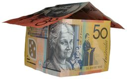 Australian money house. House built of Australian 20 and 50 dollar bills Royalty Free Stock Photography