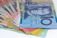 Australian Dollar banknote with a complete system of banknotes made from polymer royalty free stock images