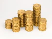 Australian Money One Dollar Coins Money. Stacks of Australian one dollar coins royalty free stock image
