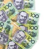Australian Money One Hundred Dollar Bills. Australian one hundred dollar bills over white background Royalty Free Stock Photography