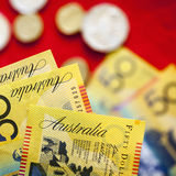 Australian Money over Red Background Royalty Free Stock Image